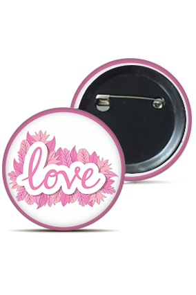 Love Leaves Round Badge