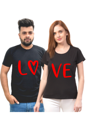 Matching Pair of Lo Ve Cotton Half Sleeve Couple T-Shirt