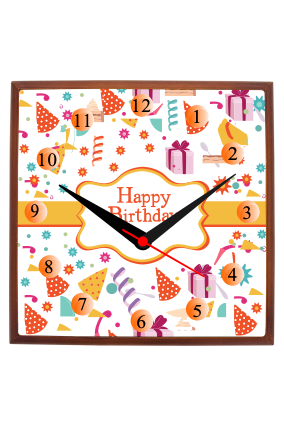 Happy Birthday Square Wooden Wall Clock