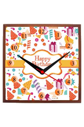 Happy Birthday Square Wooden Wall Clock