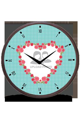 Floral Heart Wooden Wall Clock