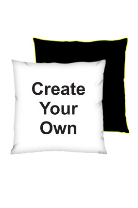 Create Your Own Polyester Square Black With Yellow Piping Cushion