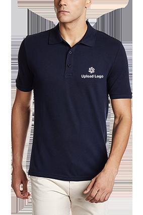 Corporate Upload Logo Navy Blue Cotton Polo T-Shirt - 82288512