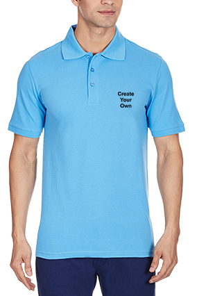 Custom Create Your Own Azure Blue Cotton Polo T-Shirt - 83695706