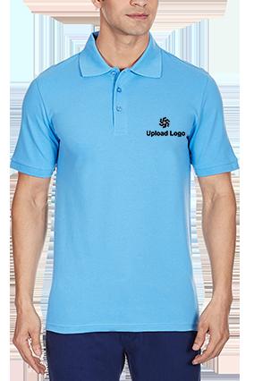 Premium Upload Logo Azure Blue Cotton Polo T-Shirt - 83695706
