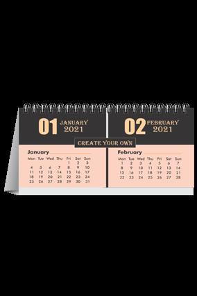 Black And Peach Desk Photo Calendar(8.2 x 3.7 Inches) - 6 Leaves