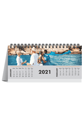 Greyish Desk Photo Calendar(8.2 x 3.7 Inches) - 6 Leaves
