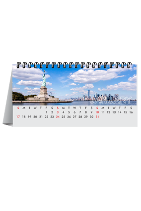 Elegant White Desk Photo Calendar(8.2 x 3.7 Inches) - 12 Leaves