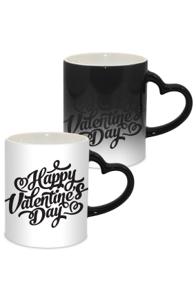 Happy Love Valentine Day Heart Handle Black Magic Mug