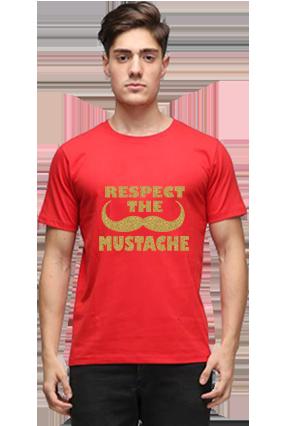 Respect Loyalty Golden Glitter Red Round Neck Cotton Effit T-Shirt