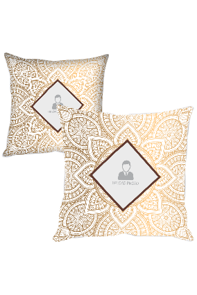 Golden and White Rangoli with Photo Polyester Cushion Cover