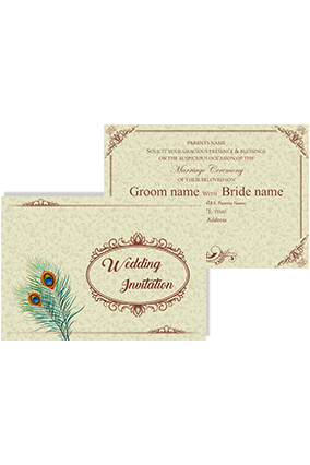 Designer Peacock Feather Landscape Wedding Invitation Card