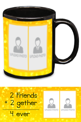 Friends Forever Printed Black Patch Mug