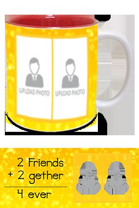 Friends Forever Printed Inside Red Mug