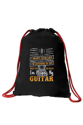 I am Playing My Guitar Black Sack Bag