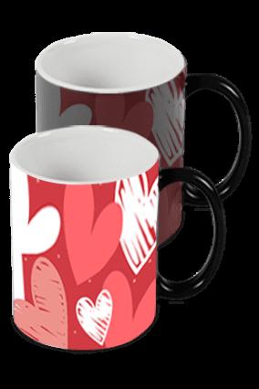 Custom Photo with Heart Black Magic Mug