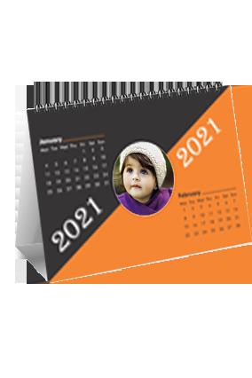 Orange And Black Desk Photo Calendar(8 x 6 Inches) - 6 Leaves