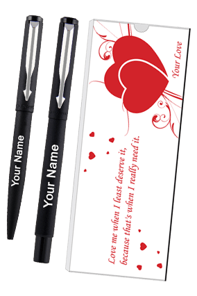 Parker Vector Matte Black Ct (Rb+Bp) Pen Sets With Love Quote 9000018238