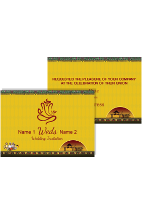 Yellow Color Wedding Invitation Card