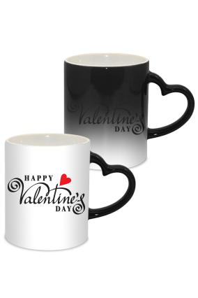 Heart Valentine Day Heart Handle Black Magic Mug