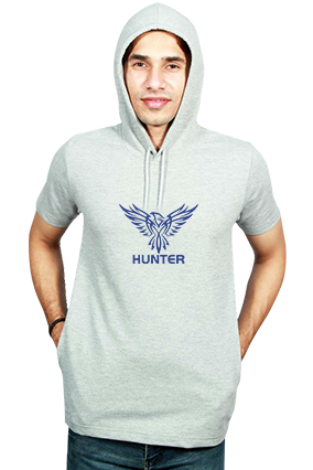 Eagle Hunter Full  Round Neck Half Sleeve With Side Pocket Gray Hoodie