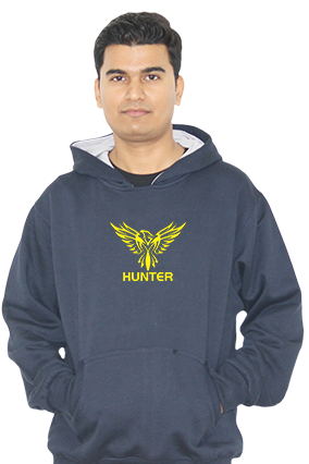 Trendy Eagle Hunter Full Sleeves Navy Blue Hoodie