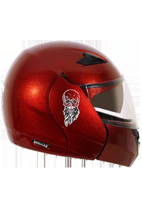 Beardy Skull Vega Boolean Burgundy Helmet