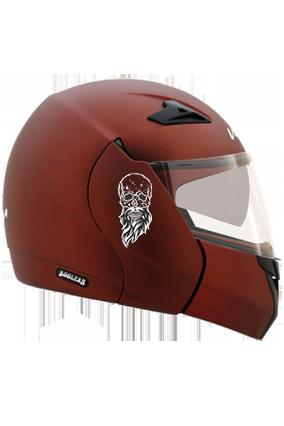 Beardy Skull Vega Boolean Dull Burgundy Helmet