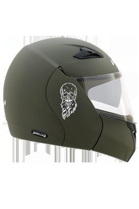 Beardy Skull Vega Boolean Dull Battle Green Helmet