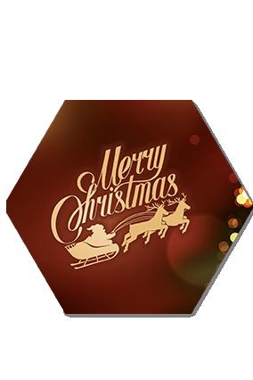 Christmas Tree Frame Merry Christmas Hexa Coaster