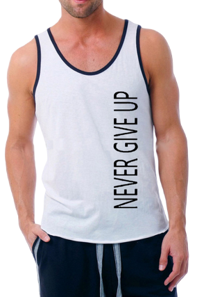 Never Give Up Poly Cotton Sleeveless Gym and Sportswear Tank Tops Sports Tshirt or Vests for Men