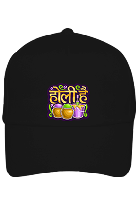 Bucket With Colors Personalilzed Holi Cotton Black Cap