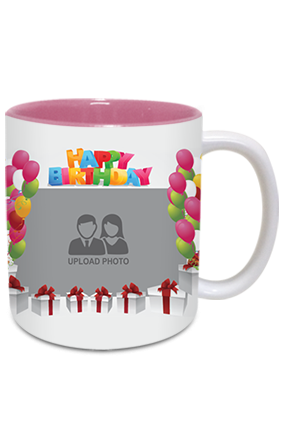 Customize Balloons Inside Pink Mug