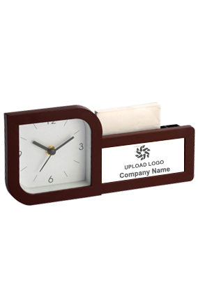 Clock With Pad And Pen Holder (With Writing Pad) (Branding Included)-A116