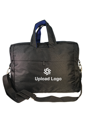 Upload Logo Black & Blue Laptop Hand Bag