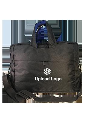 Upload Logo Black & Blue Laptop Hand Bag