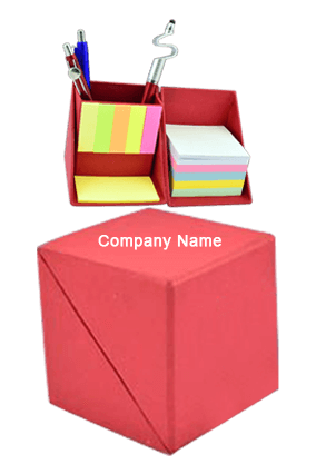 Folding paper cube in color (with memopad and tumbler)