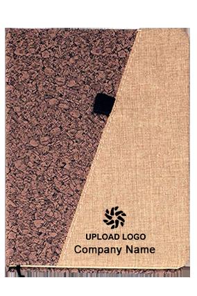 Brown Pu With Linen A5 Notebook (Slash Design)-B75