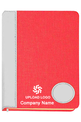 Colored Linen With Pu Round Patch A5 Notebook (Binary Design)-B77