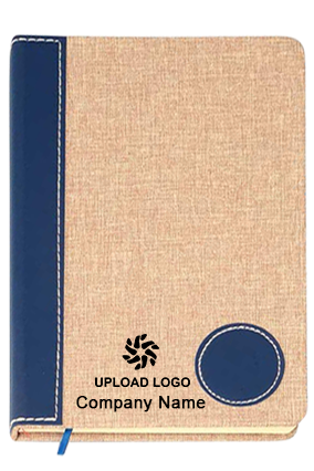 Brown Linen With Pu Round Patch A5 Notebook (Binary Design)-B78