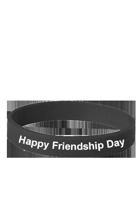Happy Friendship Day Black Silicon Wristband