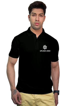 160GSM - Create Your Own Black Collar Matty T-Shirt