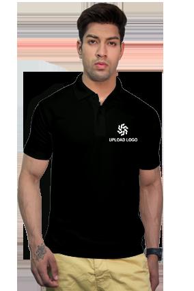 180GSM - Create Your Own Black Collar Matty T-Shirt