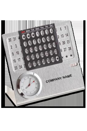 Perpetual Desk Calendar with Clock BTC-4150