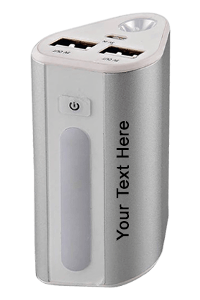 Power Plus Power House : Triangle Shape Power Bank With Lamp And Torch (Dual Usb Port) (6000 Mah)-C35