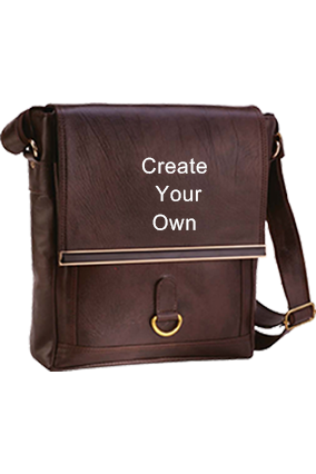 Printed Messenger Bag Leatherite Brown GE-1148