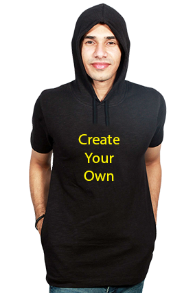 Create Your Own Round Neck Half Sleeve With Side Pocket Black Hoodie