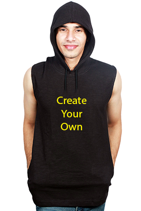 Create Your Own Round Neck Without Sleeve With Side Pocket Black Hoodie