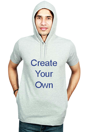 Create Your Own Round Neck Half Sleeve With Side Pocket Gray Hoodie