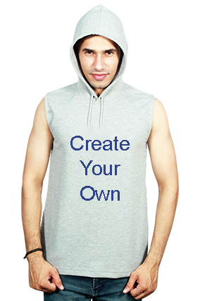 Create Your Own Round Neck Without Sleeve With Side Pocket Gray Hoodie